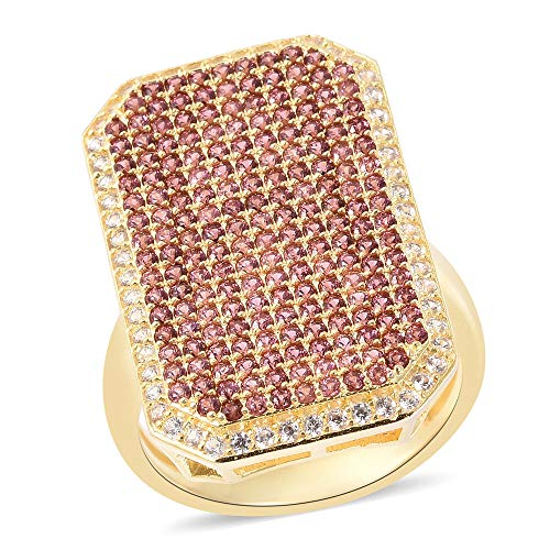 TJC Cluster Yellow Gold Plated 925 Sterling Silver Ring for Women Garnet White Zircon Size M, 2.46 Ct