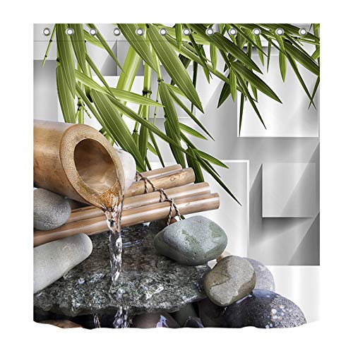 LB Japanese Zen Bamboo Decor Shower Curtain for Shower Stall by, Asian Spa Zen Stone Water Flow, Water Repellant Decor Curtain, 70 x 70