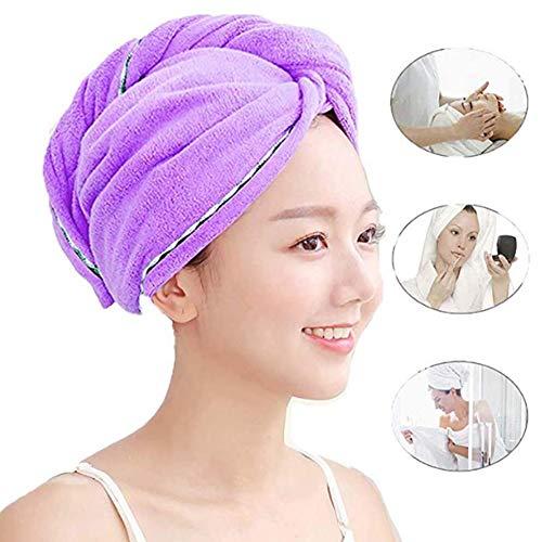 Magic Hair serviette séchage rapide, hottes ultra-eau-Twist Sèche-cheveux Turban enveloppements cheveux, Pour le bain, douche, piscine (2-pack),Lila