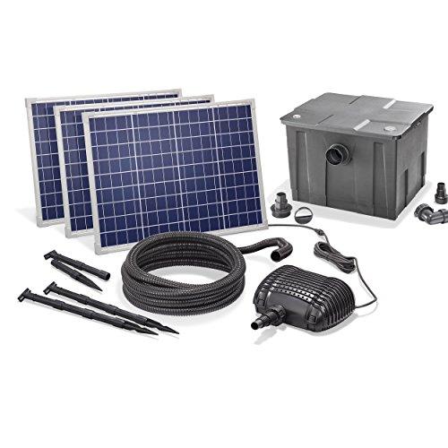 Solar Teichfilterset Premium 5000 l/h Förderleistung 150 Watt Solarmodul 3m Förderhöhe Solarfilter Außenfilter Gartenteich esotec pro Komplettset 101082