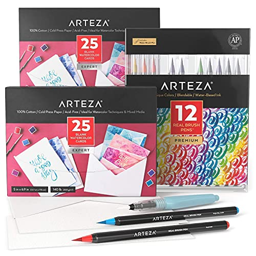 Arteza Watercolor Cards and Real Brush Pens Bundle, Drawing Art Supplies for Artist, Hobby Painters & Beginners