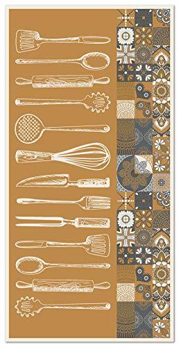 Panorama Alfombra Vinílica Cocina Utensilios Cocina Naranja 80x150 cm - Alfombra Cocina Vinilo - Alfombra Salón Antideslizante, Antihongos e Ignífuga - Alfombras Grandes - Alfombras PVC