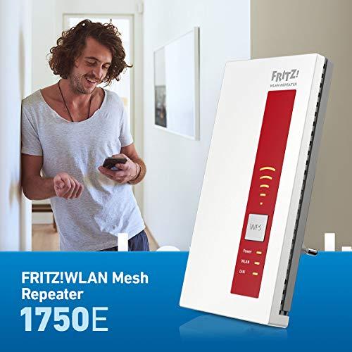 AVM FRITZ!WLAN Repeater 1750E (Dual-WLAN AC + N bis zu 1.300 MBit/s 5 GHz + 450MBit/s 2,4 GHz), Rot/Weiß, deutschsprachige Version