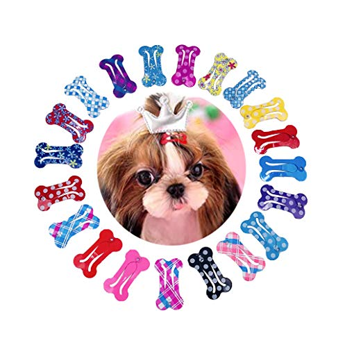PET SHOW Cute 1″ Small Bone Snap Hair Clips Pet Grooming Products Dog Cat Puppy Hair Accessories Random Color Pack of 20