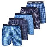 ROYALZ Calzoncillo Bóxer Americano Hombre Set de 5 Azul 100 Algodón Estilo American Style Ropa Interior Ancha Paquete 5, Color:Set 001 (Pack de 5 - Multicolor), Tamaño:L