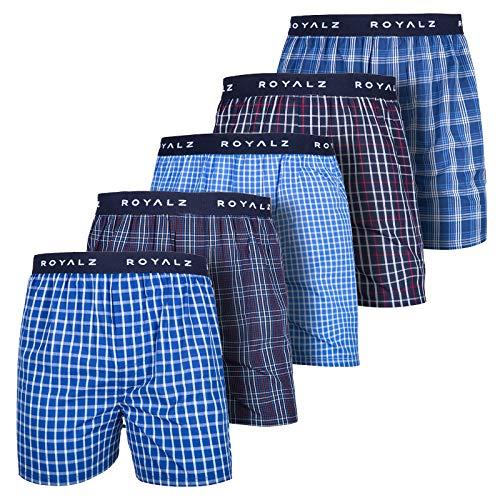 ROYALZ 5er Pack Boxershorts American Style für Herren Männer Unterhosen Kariert Blau klassisch 5 Set Jungen Unterwäsche weit, Farbe:Set 001 (5er Pack - Mehrfarbig), Größe:M