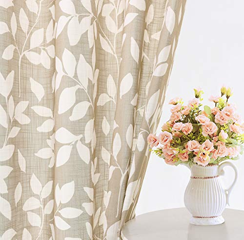 """Treatmentex Leaf Semi Sheer Curtains for Living Room 84"""" Length with White Leaves Print Curtains for Bedroom Windows 52"""" w, 2 Panels Taupe, Grommet Top"""