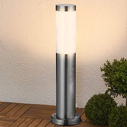 Bakaji Lampada Paletto Luce da Giardino in Acciaio Inox Palo Illuminazione Esterno con Paralume Attacco E27 per Lampadina Max 40W Altezza 45cm Design Moderno Colore Cromo