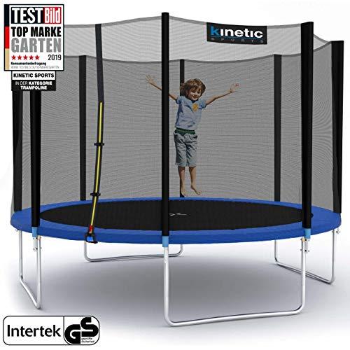 Kinetic Sports Outdoor Gartentrampolin Ø 310 cm, TPLH10, Komplettset inklusive Sprungtuch aus USA PP-Mesh +Sicherheitsnetz +Randabdeckung, bis 150kg, GS-geprüft, UV-beständig, BLAU