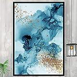 ganlanshu Pintura sin Marco Abstracto Azul Dorado impresión Mural decoración del hogar sobre Lienzo Minimalista modernoZGQ2446 30X40cm