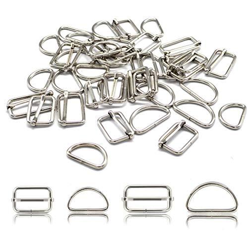 40 piezas de hebillas metálicas 32mm 25mm cinturón de ajuste D anillos para bolsos, bolso, correa, mochila (32mm)