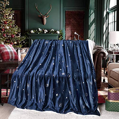 Exclusivo Mezcla 50 x 70 Inch Large Starry Throw Blanket for Christmas, Reversible Ultra Soft Velvet& Plush Sherpa Xmas Blanket (Snowy Night, Navy Blue) - Decorative, Lightweight, Soft and Warm