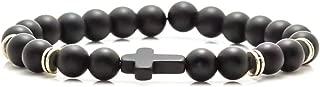 Fashion Christian Cross Bangle 8MM Onyx Beads Bracelet,7 1/2 Wrist
