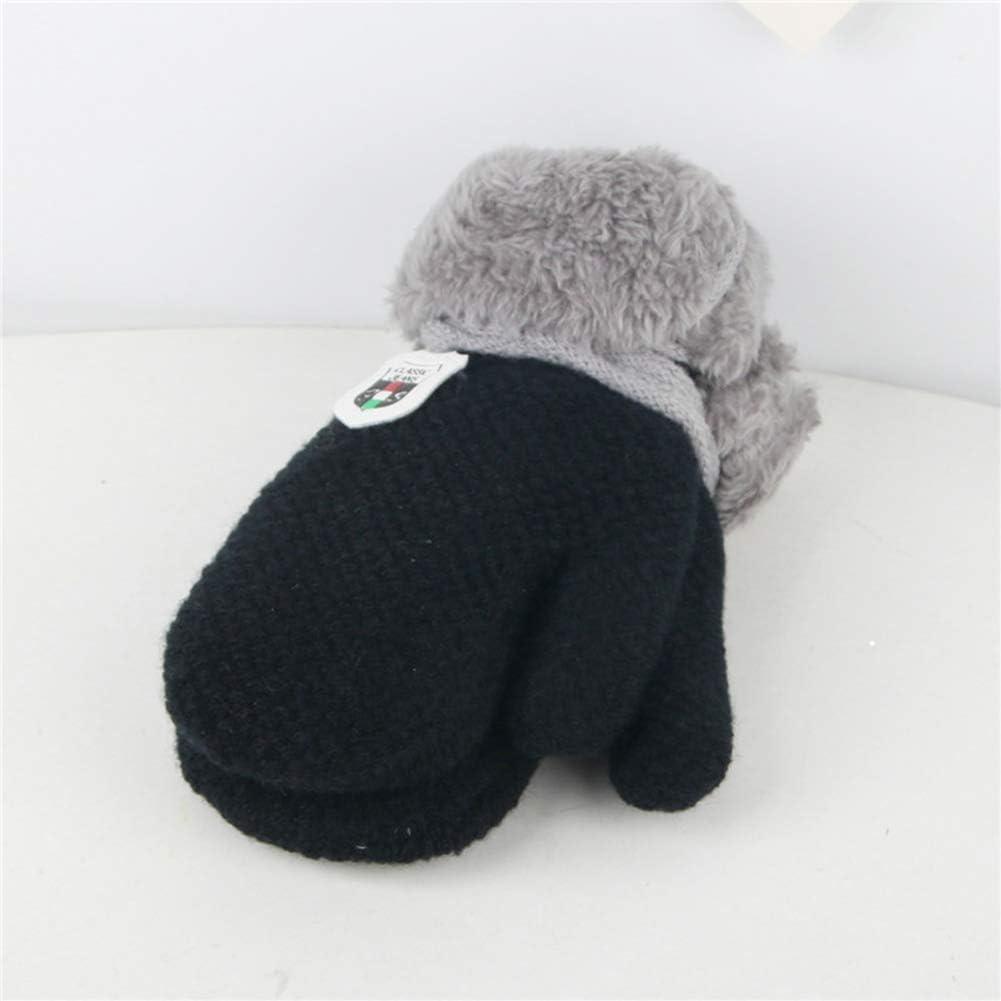 3 Pairs Toddler Gloves Boys Girls Winter Fleece Lined Mittens Kids Winter Warm Thicken Knit Gloves with String