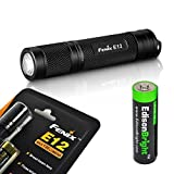 Fenix E12 CREE XP-E2 130 Lumen LED flashlight with EdisonBright AA alkaline battery. Upgraded from E11