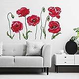 decalmile Pegatinas de Pared Amapola Roja Vinilos Decorativos Plantas de Flores Adhesivos Pared Oficina Habitación Dormitorio Salón