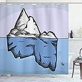 ABAKUHAUS Ice Berg Duschvorhang, EIS unter & über Wasser, aus Stoff inkl.12 Haken Digitaldruck Farbfest Langhaltig Bakterie Resistent, 175x180 cm, Ceil Blau Azure Blau