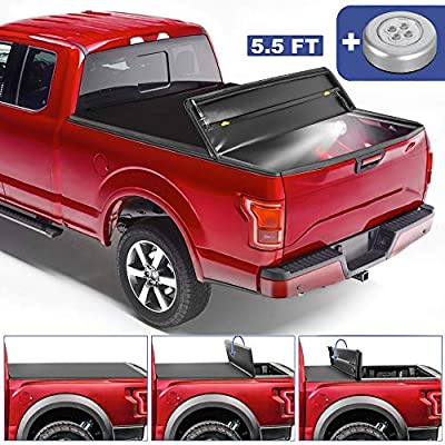 MOSTPLUS Tri-Fold Soft Truck Bed Tonneau Cover On Top Compatible with 2015-2020 FORD F150 F-150 Bed 3 Fold Styleside (5.5 FT Feet Bed)