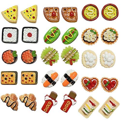 Juland 32 piezas en miniatura casa de muñecas alimentos mini pasteles decoración cocina food cake donuts Mix Kawaii simpática resina plana cabujón pan adorno para teléfono democrace scrapbooking