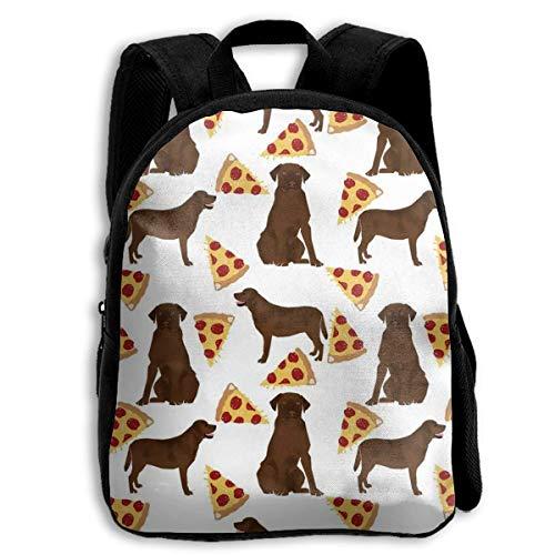 Kids Bookbag Duurzame Grappige Terug naar School Rugzak, Casual Dagtas Reizen Outdoor Rugzakken - Chocolade Labrador Pizza