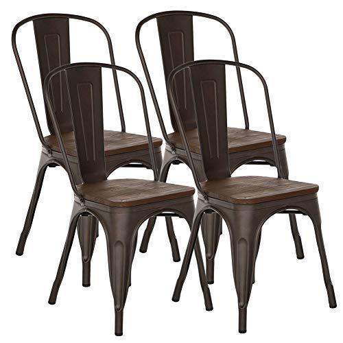 FANGYU Chair Junto de 4 Estilo Antiguo Color Bronce Silla de Comedor de Metal con Asiento de Madera Maciza
