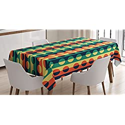 Ambesonne Geometric Circle Tablecloth, Pop Art Style Vertical Striped Half-Pattern Ring Forms Retro Poster Print, Dining Room Kitchen Rectangular Table Cover, 60 X 84, Orange Teal