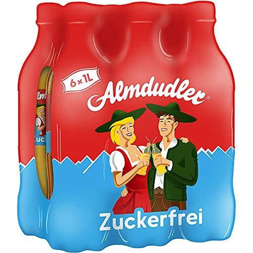 6 Flaschen a 1000ml zuckerfrei Almdudler Kräuterlimonade Limonade Alpenkräuterlimonadees Getränk inc. 1.50€ EINWEG Pfand