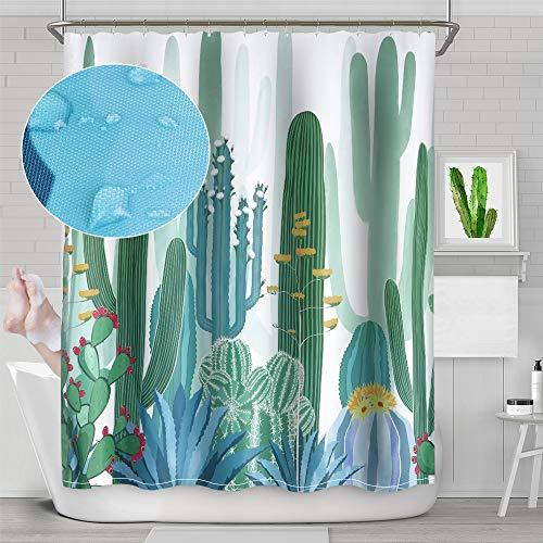 Hoomall Green Topfpflanzen Kaktus Sukkulenten Druck Duschvorhang Polyester Wasserdicht Badezimmer Vorhang mit Stoff 180 x 180 cm