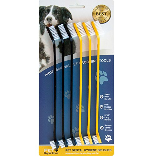 Pet Republique Cat & Dog Toothbrush Set of 3/6 - Dual Headed Dental Hygiene Brushes for Small to Large Dogs, Cats, & Most Pets (Dual-Headed Set of 6)