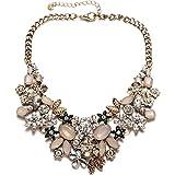 Vintage oro tono catena collare collana girocollo cristallo scintillante per party