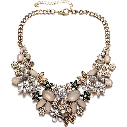 Antique Gold Chunky Bib Statement Collar Necklace with Crystal Opal Rhinestone Flower Cluster for Women Party Prom