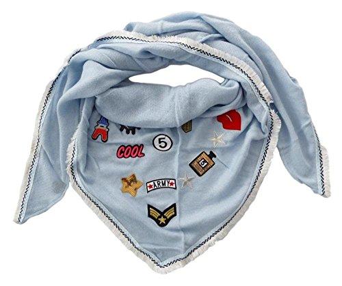 Mississhop 149 Damen Dreieckstuch Schal Sommer Frühling Tuch mit bunten Patches Fransen und pastell Farben von Zwillingsherz Babyblau