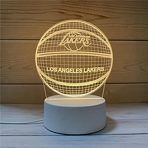 Luz Nocturna ,Lámpara De Ilusión Óptica Led 3D Con Placas Acrílicas De Patrones,Lámpara De Visualización Creativa Usb Regalo Para Niños,Baloncesto