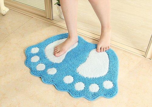 Alfombra de baño ParaCity con dibujo de pies grandes, absorbente y antideslizante, azul, 40*60CM