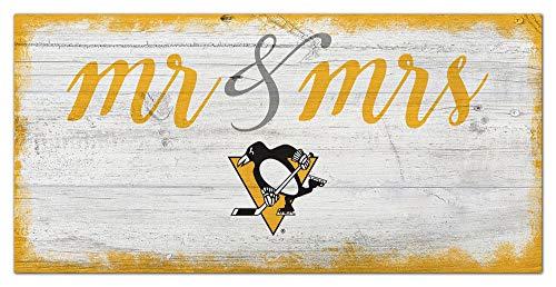 Fan Creations NHL Pittsburgh Penguins Unisex Pittsburgh Penguins Script Mr & Mrs Schild, Team-Farbe, 15,2 x 30,5 cm