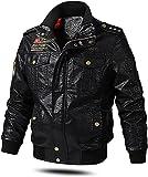 chaquetas de moto Chaqueta de motocicleta de cuero de los hombres ribano retro punk PU Chaqueta de cuello de stand-up cálizas de cuero sintética más velvet ( Color : Black , Size : 5XL-5XLarge )