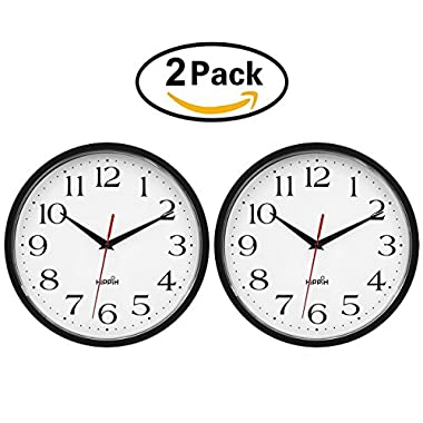 HIPPIH 2 Pack Silent Wall Clock - 10 Inch Battery Operated Round Clock - Easy to Read for Home/Office/School by