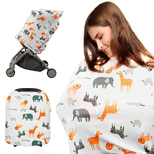 Baby Car Seat Covers, Dr.meter Nursing Scarf Breastfeeding Cover, Infant Car Seat Canopy, Soft & Breathable Cover for Boys/Girls, Gift for New Moms