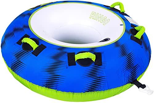 MESLE Tube Ringo 54'', 1 Person, aufblasbarer Schlepp-Reifen zum Ziehen, Towable Donut Fun-Tube, für Kinder & Erwachsene, Inflatable Wasser-Sport Schlepp-Ring, für Motor-Boot & Jet-Ski, Farbe:blau