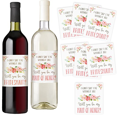 Bridesmaid and Maid of Honor Wine Bottle Labels, Set of 7 Labels, I Can't Say I Do Without You, Asking Bridesmaids, Bridesmaid Proposal, Bridal Party Favors, Ideas, and Gifts (Gifts To Ask Someone To Be Your Bridesmaid)