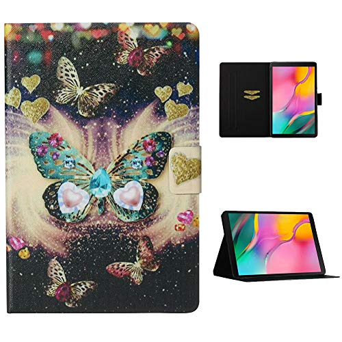 Cestor Flip Tablet Case for Samsung Galaxy Tab A 10.1 SM-T510/T515,Ultra Slim Premium Colorful Print PU Leather [Multi-Angle View] Folio Stand Wallet Cover with Auto Wake/Sleep,Pretty Butterfly