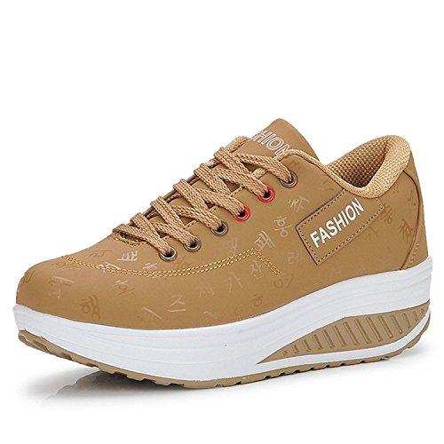 Gaatpot Damen Plateau Sneaker Keilabsatz Wedge Schuhe Leicht Freizeit Sportschuhe Bequem Turnschuhe,Khaki,EU36=CN37