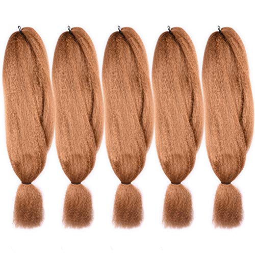 5 Pack 27# Jumbo Braids Hair Crochet Braiding Hair 48inch African Collection Xpressions Synthetic Fiber Braiding Hair Extensions 57g/pack color Honey Blonde