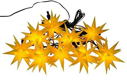 Weihnachtliche Lichterkette für den Außenbereich - LED Lichterkette mit 9 Gelben Sternen - Länge 13m - Sternenlichterkette zur Dekoration für den Tannenbaum