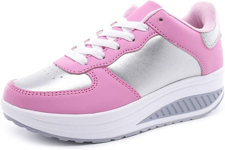Gcanwea Women Summer Lace Up Wedges Platform Trainers PU Causal shoes Ladies Basket Sneakers Light bluee 6 M US