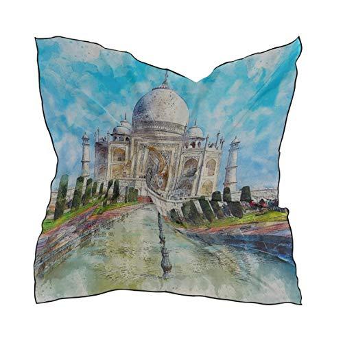 Rh Studio Silk Scarf Square Satin Scarf Taj Mahal Monument Marble Art Lightweight Bandanas Head Wrap Neck Shawl 24x24 Inches