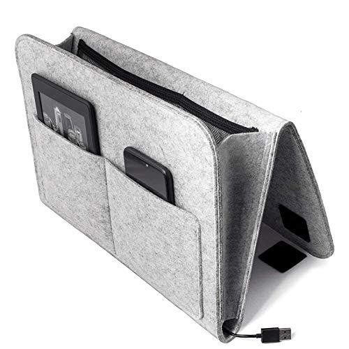 Bett Organizer, Filz Betttasche Anti-Rutsch Nachttisch Tasche Sofa-Bett Hängeaufbewahrung für Buch, Zeitschriften, iPad, Handy, Fernbedienung (Hellgrau)