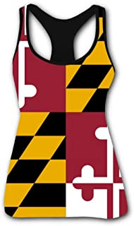 Women's Outdoor Sport Maryland State Flag Tank Top Vest T-Shirt Fast Drying Tee