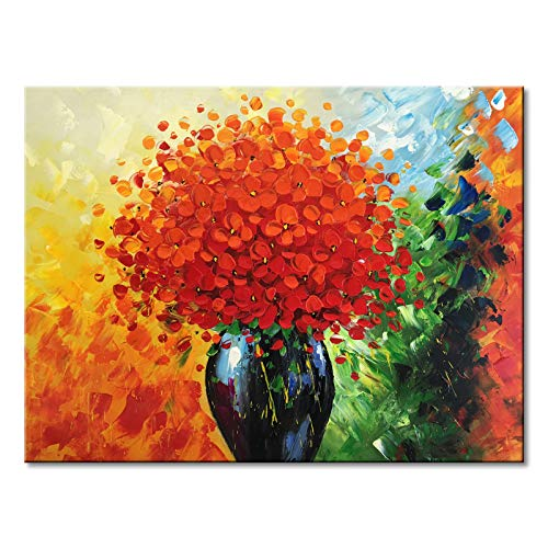 Handmade Large Modern Textured Red Flower Oil Painting on Canvas Abstract Floral Wall Art