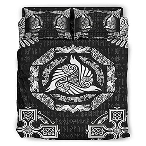 Wandlovers Juego de ropa de cama de 4 piezas, vikingo, Odin, cuervos y nudos, impresión cómoda, funda nórdica y funda de almohada, falda de cama, color...